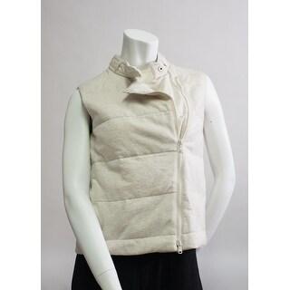 Brunello Cucinelli Womens Cream Tan Zipped Vest - 4