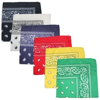 Unibasic Extra Large 100% Polyester Paisley Bandanas 27 x 27 In - Great For Party and Decoration - 6 Pack - One Size Fits Most