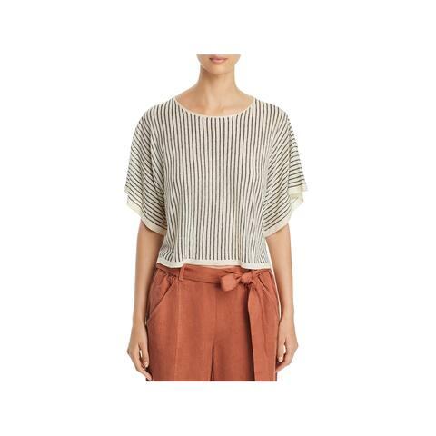 Eileen Fisher Womens Pullover Top Linen Blend Striped - M