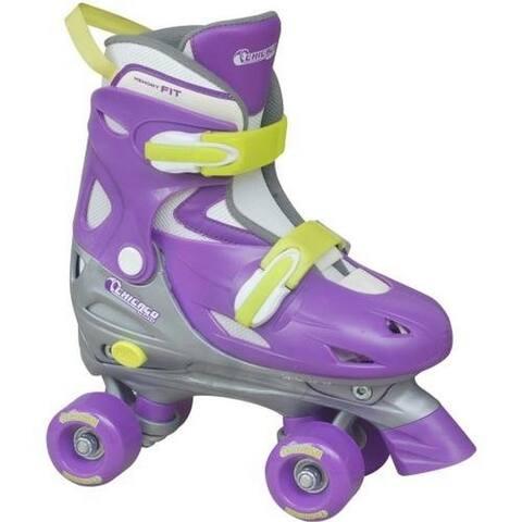 Chicago Skates Girls Adjustable Quad Roller Skate, Silver/Purple