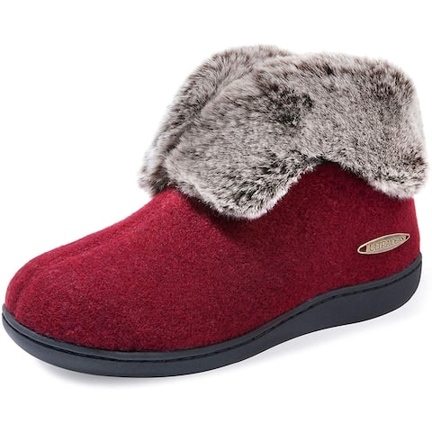 ULTRAIDEAS Women's Cozy Memory Foam Slippers with Plush Faux Fur Collar, Wool-Like Blend Cotton Closed Back House Shoes with Ant