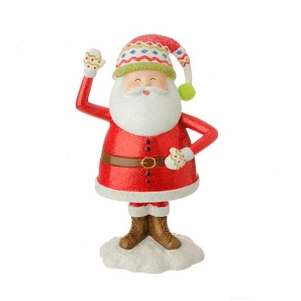 "7.5"" Merry & Bright Glitter Drenched Jolly Santa Claus Christmas Figure Decoration - RED"
