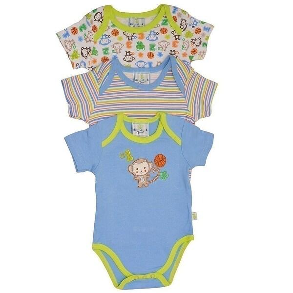 Duck Duck Goose Baby Boys Blue Monkey Sport Print 3 Pc Bodysuit Set
