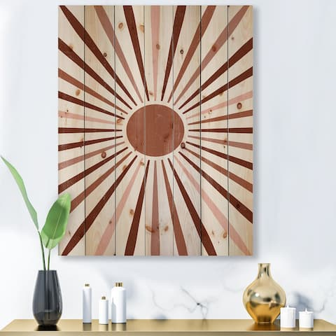 Designart 'Geometric Radiant Sun' Modern Print on Natural Pine Wood