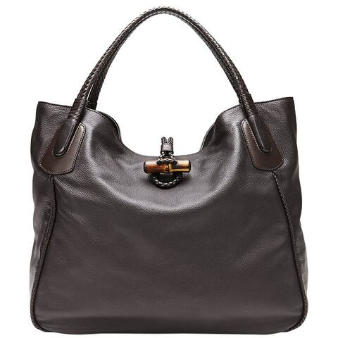 28d844747 Gucci Women's Dark Brown Leather Large Hip Bamboo Tote Bag 338978 2164