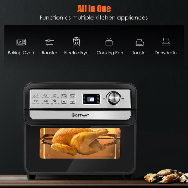12-in-1 Air Fryer Oven 23 QT Digital Toaster Oven Rotisserie w// 9 Accessories