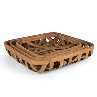 """Set of 3 Brown Decorative Tabacco Baskets 18.5"""""""