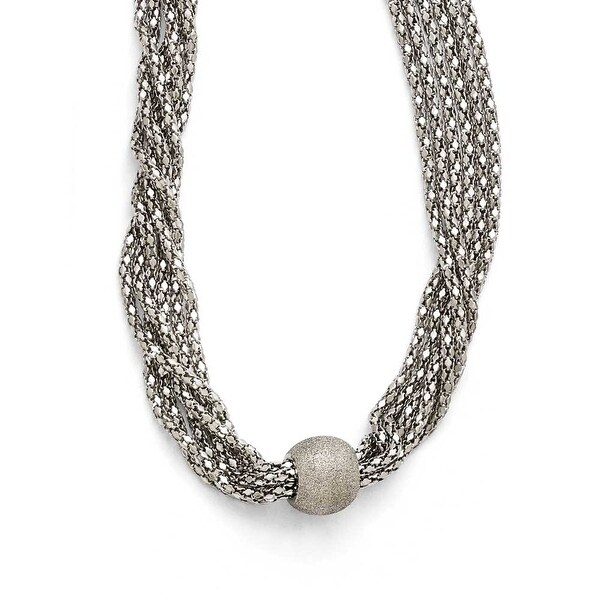 Chisel Stainless Steel Polished and Laser Cut 6 Strand Necklace - 17 in