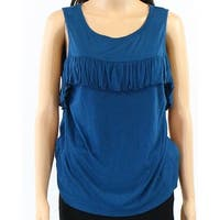 Willow & Clay NEW Blue Teal Womens Size Medium M Ruffled Tank Top