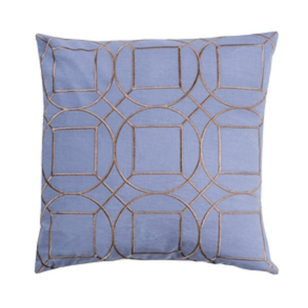 "20"" Indigo Blue and Smoke Gray Geometric Square Linen Throw Pillow – Down Filler"