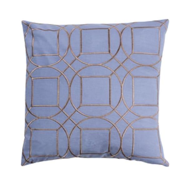 "20"" Indigo Blue and Smoke Gray Geometric Square Linen Throw Pillow"