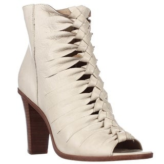 FRYE Sofia Braided Peep-Toe Gladiator Booties, Off White