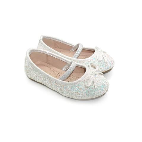 Pipiolo Girls White Sparkling Mary Jane Ballerina Flats