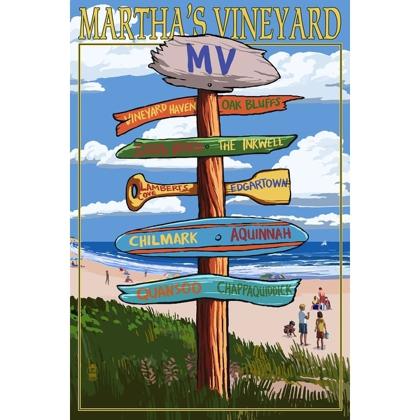 Martha's Vineyard, MA - Dest Sign - LP Artwork (Art Print - Multiple Sizes)