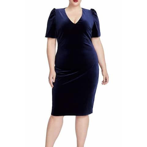Rachel Rachel Roy Women's Dress Blue Size 20W Plus Sheath Velvet
