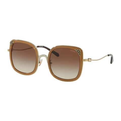 Coach HC7101B 900513 53 Shinylightgold/transp Lt Brown Woman Square Sunglasses