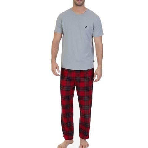 Nautica Mens Sleepwear Red Heather Gray Size Large L Plaid Pajama Sets