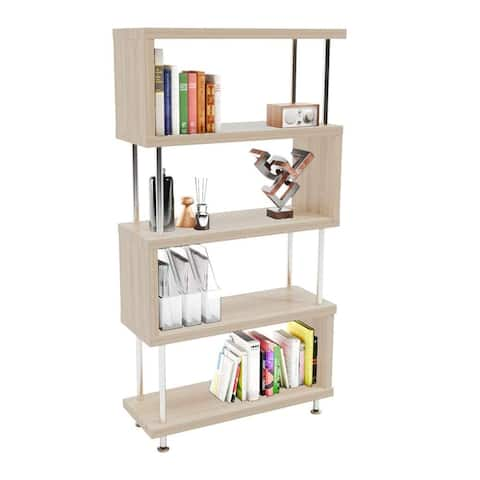 "S-Shaped 5 Shelf Bookcase, Wooden Z Shaped 5-Tier Etagere Bookshelf - 7'9"" x 9'9"""
