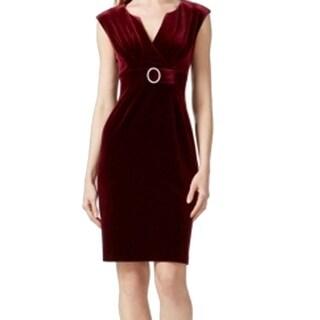 Connected Apparel NEW Merlot Red Velvet Women's 12 Sheath V-Neck Dress