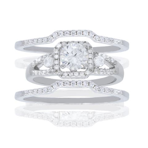 3-Piece Round-Cut Square Halo Cubic Zirconia Ring Set, Sterling Silver