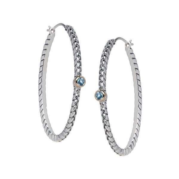 1/3 ct Sky Blue Topaz Hoop Earrings in Sterling Silver & 14K Gold