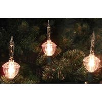 Set of 7 Clear Retro Christmas Bubble Lights - 6 ft Green Wire