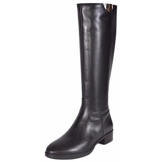 Tory Burch Black Vegetable Leather Sidney Knee High Riding Boots Shoes 6.5