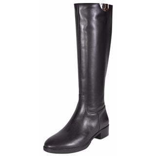 Tory Burch Black Vegetable Leather Sidney Knee High Riding Boots Shoes 7