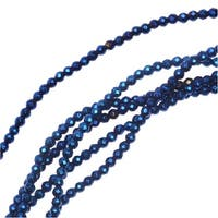 Hematite Gemstone Beads, Faceted Round 2mm, 6 Inch Strand, Metallic Blue