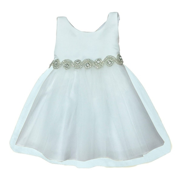 e5bc7f9a9b7b9 Baby Girls Ivory Satin Tulle Rhinestone Flower Girl Dress