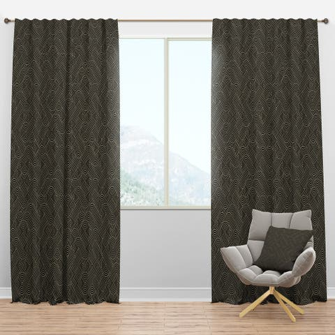 Designart 'Rounded line labyrinth' Mid-Century Modern Blackout Curtain Panel