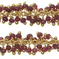 Ruby Gemstone Drops Gold Vermeil Wire Wrapped Chain 3mm Rondelles - By The Inch