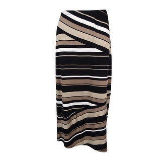 NY Collection Women's Elastic Waist Striped Maxi Skirt