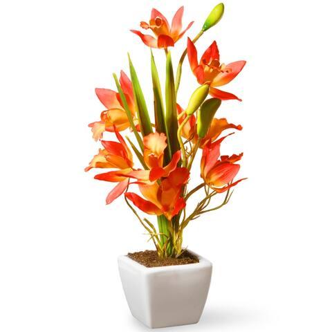 "13"" Yellow & Orange Orchid Flowers"