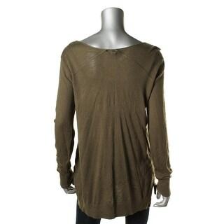 Splendid Womens Cashmere Blend Ribbed Trim Pullover Sweater