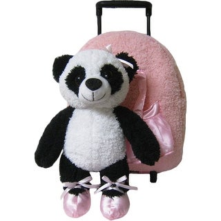 Kreative Kids Girls Pink Panda Removable Plush Stuffed Animal Wheels Roller - One size