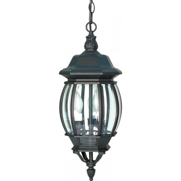 """Nuvo Lighting 60/896 Central Park 3-Light 7-3/8"""" Wide Outdoor Mini Pendant with Clear Glass Shade - Textured Black - N/A"""