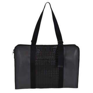 Bottega Veneta Men's Medium Grey Black Intrecciato Nappa Briefcase Bag