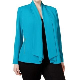 Calvin Klein NEW Blue Women's Size 24W Plus Shawl Lapel Flyaway Jacket