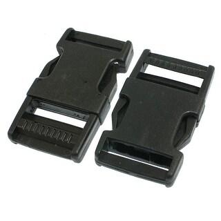 "2 Pcs 1"" Black Spare Parts Packbag Plastic Side Quick Release Buckle"