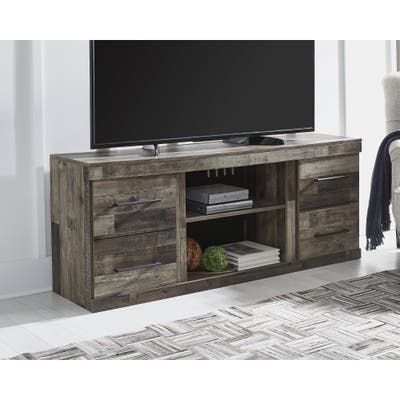 Derekson Casual Large TV Stand w/Fireplace Option, Antique Brass Finish