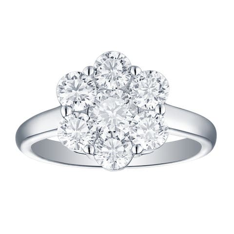 Lab Grown Diamond Cluster Engagement Ring, 2 Ctw 10K Solid Gold by Smiling Rocks