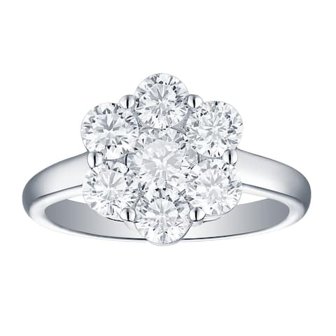 Lab Grown Diamond Cluster Engagement Ring, 2 Ctw 14K Solid Gold by Smiling Rocks