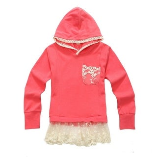 Richie House Little Girls Salmon Lace Short Skirted Hooded Top 2-6