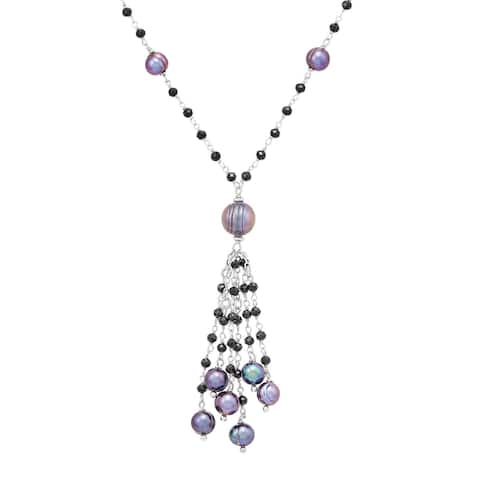 Honora 7-11 mm Black Freshwater Pearl & Spinel Tassel Necklace in Sterling Silver