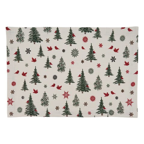 Holiday Placemats with Christmas Tree & Snowflakes Design