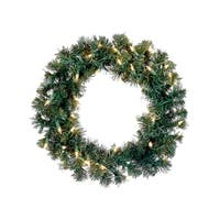 "12"" Pre-Lit Deluxe Windsor Pine Artificial Christmas Wreath - Clear Lights - green"