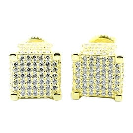 Cube Earrings 10mm Wide Screw Back Yellow Gold Tone Sterling Silver Screw Back Studs By MidwestJewellery