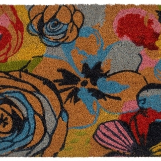 Fab Habitat - Watercolor Floral Doormat 18 x 30, Natural Rubber, Non-Slip, Durable