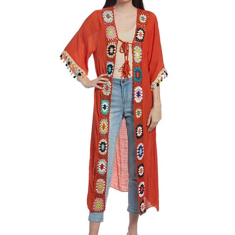 Women Solid Duster Beach Cover Ups Multi Color Crochet Boarder Long Maxi Pom-Pom Spring Cover Up